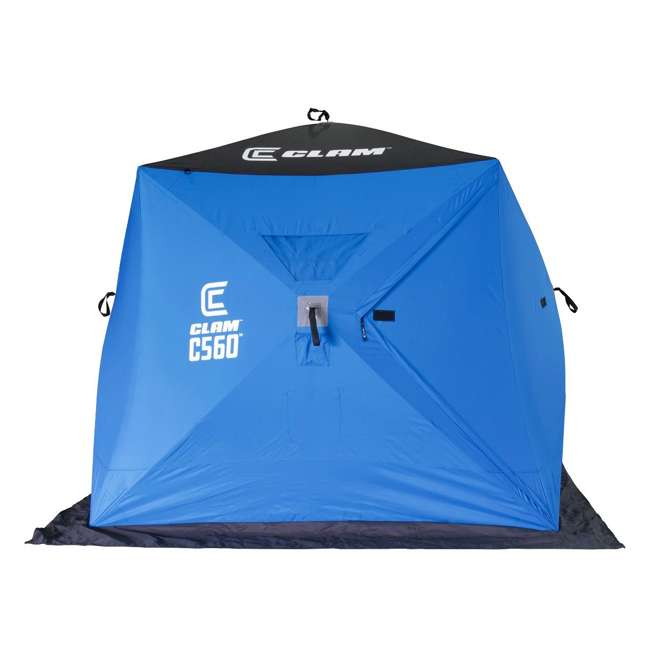 CLAM-14476 Clam 14476 C-560 Portable 7.5 Foot Pop Up Ice Fishing Angler Hub Shelter, Blue