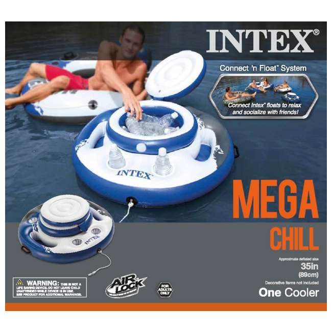 6 x 56822EP-U-A Intex Mega Chill Pool Inflatable Floating 24 Beverage Cooler (Open Box) (6 Pack) 2