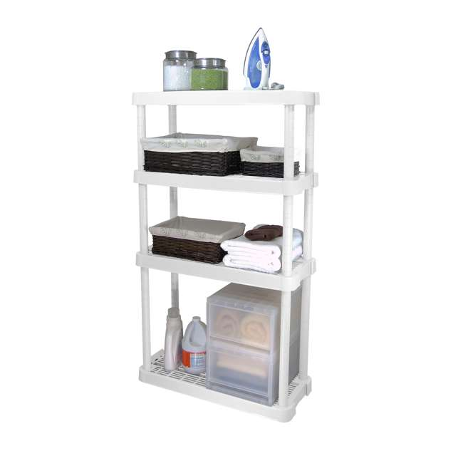 3 x GL91072MAXIT-1C Gracious Living 4-Tier Garage Storage Shelf, White (3 Pack) 2