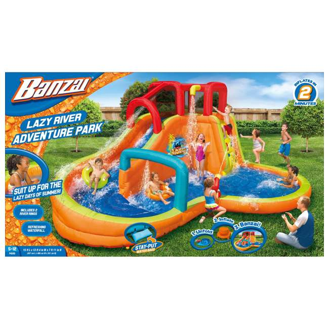 14000 Banzai Kids Inflatable Lazy River Adventure Water Park Slide and Pool (Open Box) 5