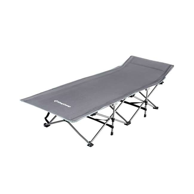 KC800320010000 KingCamp Folding Deluxe Lightweight Portable Camping Bed Cot w/ Carry Bag, Gray