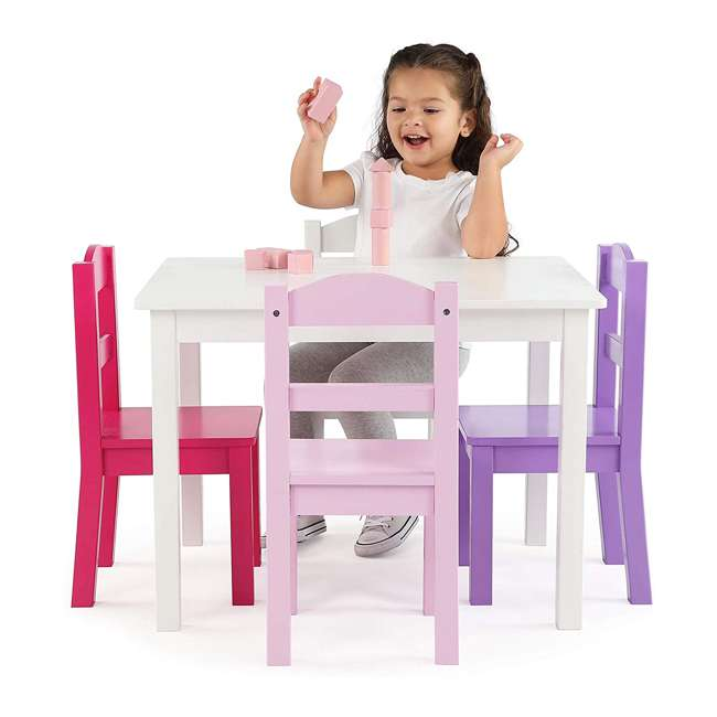 TC727 - Friends Tot Tutors Friends Collection Kids Wood Table & 4 Chair Set, White/Pink & Purple 1