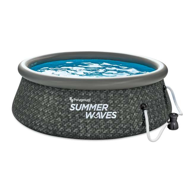 P1A00830A167 Summer Waves 8 x 2.5 Foot Quick Set Ring Above Ground Pool w/ Pump, Dark Wicker