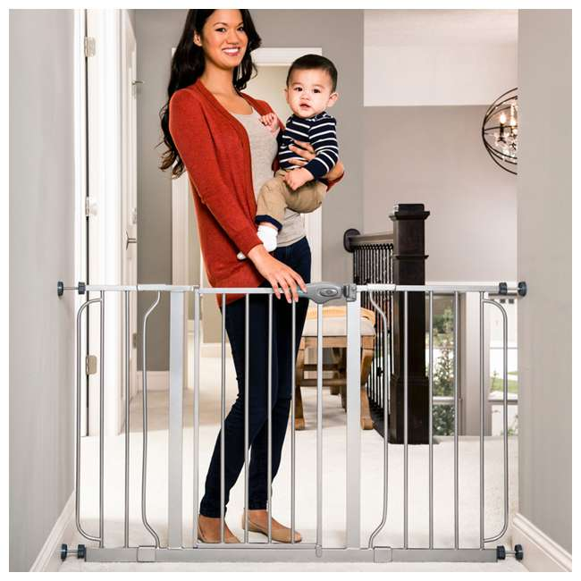 """1164EPDS-U-A Regalo 51"""" Easy Step Extra Wide Baby & Pet Safety Gate, Platinum (Open Box) 2"""