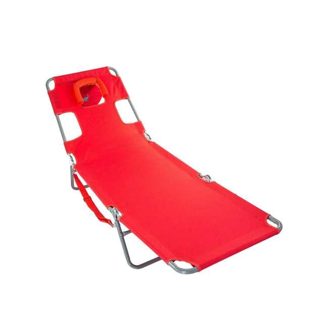 4 x CHS-1002R Ostrich Chaise Lounge Folding Portable Sunbathing Poolside Beach Chair (4 Pack) 1
