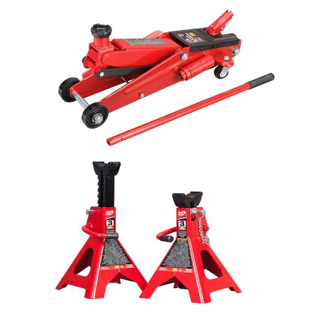 TOR-T83006 + TOR-T43002A Torin 3 Ton Trolley Service Jack Torin & 3 Ton Double Locking Jack Stands, Pair