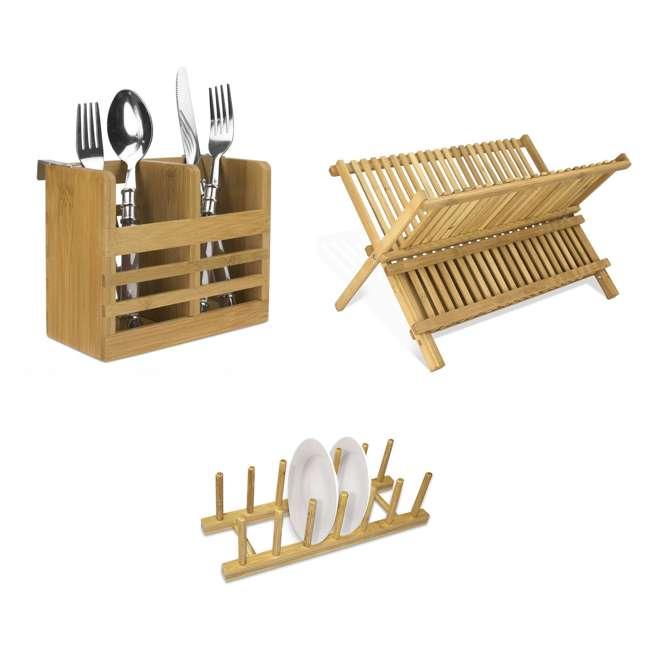 DD01018 + DR01036 + CH44543 Home Basics Dish Drainer & Drying Rack & Cooking Utensil Holder