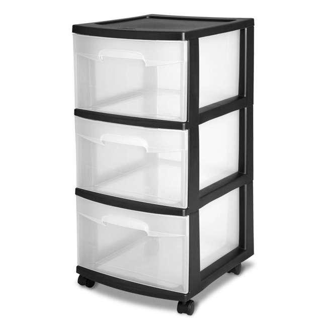 28309002-U-A Sterilite 3-Drawer Storage Cart Clear Drawers Black Frame (Open Box) (2 Pack)