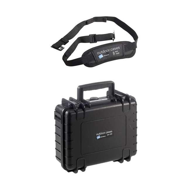 1000/B/SI + CS/500 B&W International 1000/B/SI Plastic Outdoor Case w/ SI Foam & Shoulder Strap