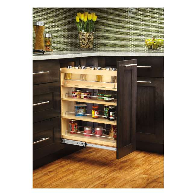 448-BC-8C-16 Rev-A-Shelf 448-BC-8C Base Cabinet Pullout Organizer w/ Wood Adjustable Shelves 5