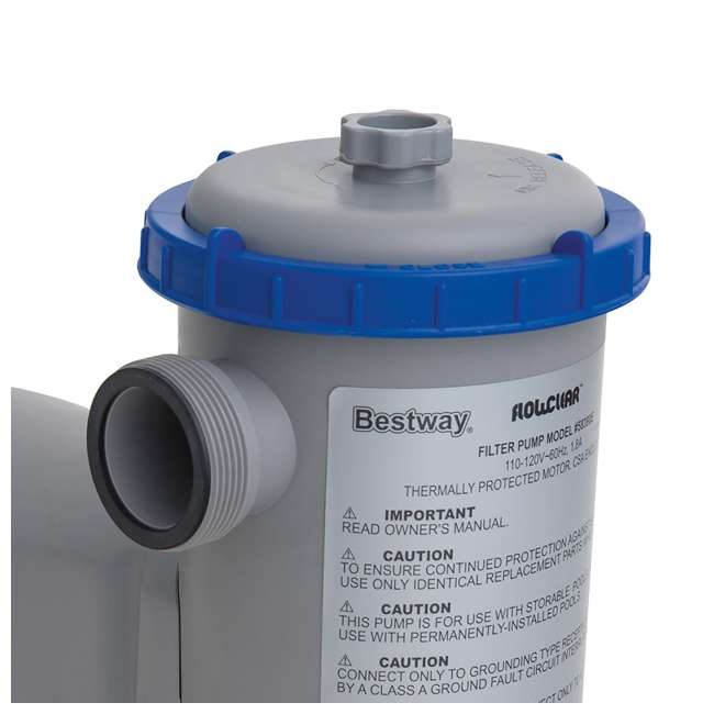 6 x 58476E-BW + 58390E-BW Bestway AntiMicrobial Type III Pool Filter Cartridge (6) w/1500 GPH Filter Pump 9
