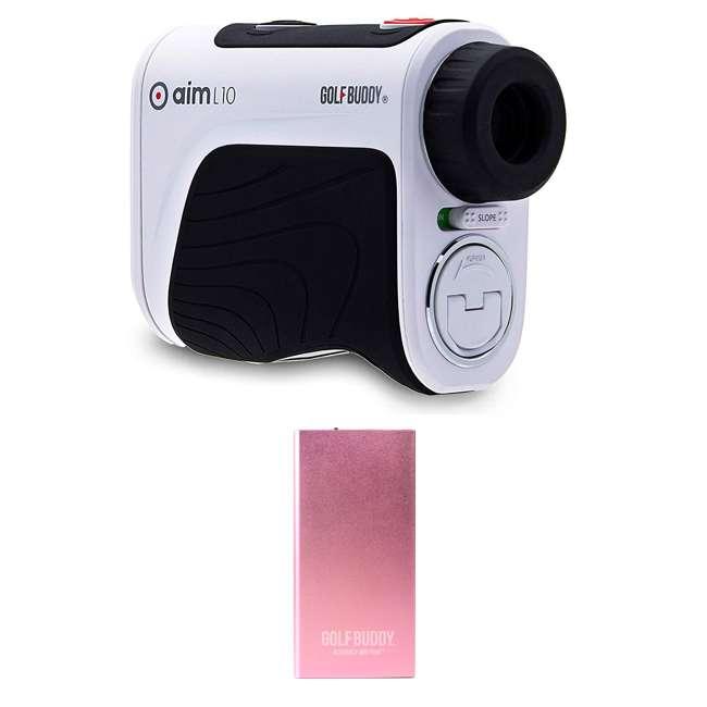 AIM-L10 + GB-BATTPACK-RG-2 GolfBuddy Aim L10 Golf Distance Laser Rangefinder + USB Charging Power Pack