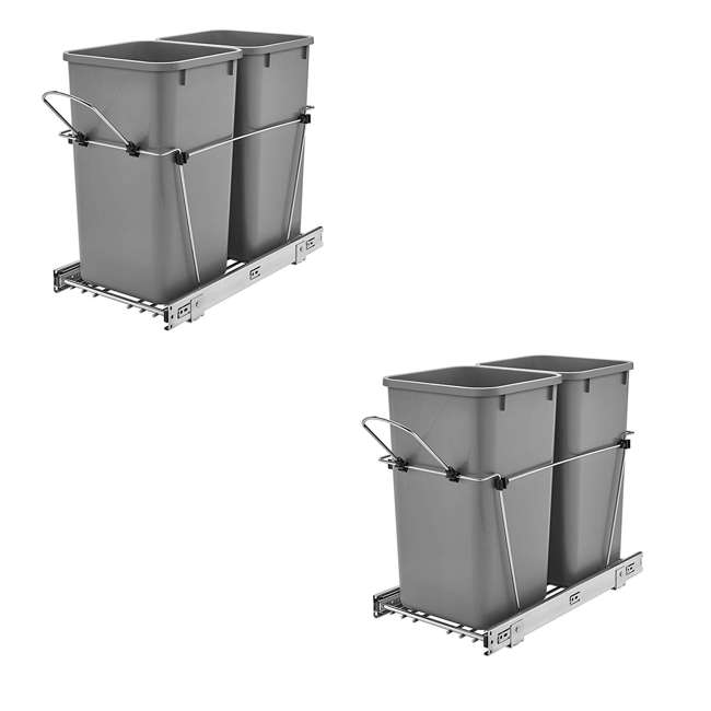 RV-15KD-17C S-30 Rev A Shelf Double 27 Qt Sliding Pull Out Waste Bin Container (2 Pack)