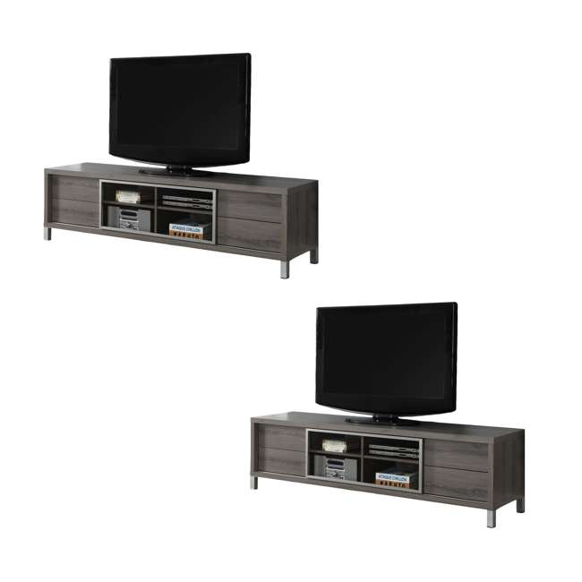 """VM-2536 Monarch Specialties 70"""" Dark Taupe Euro Style TV Entertainment Stand (2 Pack)"""