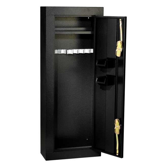 HS30103660 Homak 8 Gun Wall Mountable 1.2mm Steel Standing Security Cabinet, Gloss Black 1
