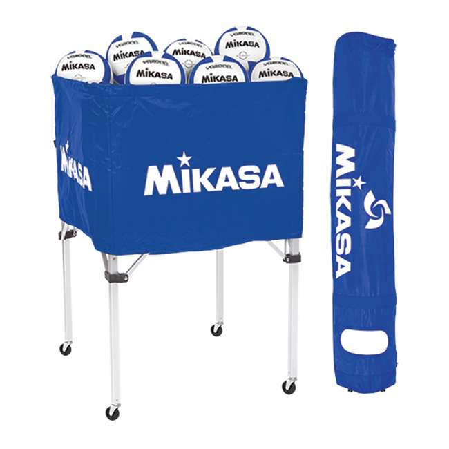 BCSPSH-ROY + 12 x VQ2000 Mikasa Volleyball Cart, Blue w/ Size 5 Volleyball (12 Pack) 1