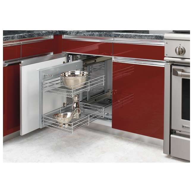 5PSP-15-CR Rev-A-Shelf 5PSP-15-CR 15 Inch Chrome Blind Corner Kitchen Cabinet Organizer 4