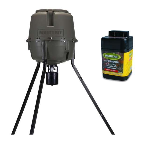 MFG-13062 + MFHP12406 Moultrie 30 Gallon Adjustable Quick-Lock Tripod Deer Feeder + 6 Volt Battery