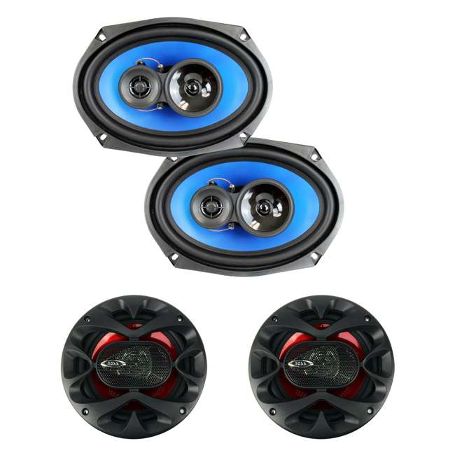 QP693 + CH6530 Q Power QP693 6x9-Inch 500W 3-Way Speakers (2 Pack) & Boss 6.5-Inch 3-Way 300 Watt Speakers (2 Pack)