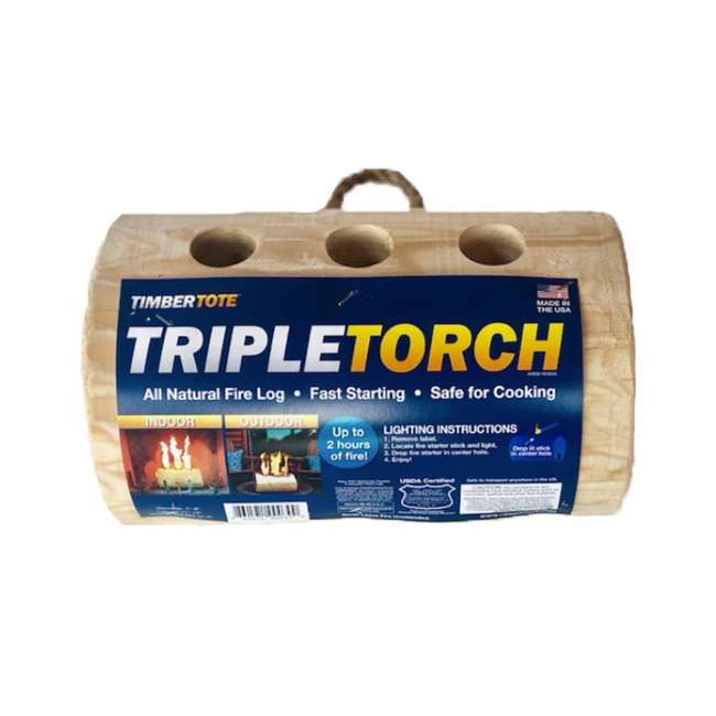 TBT-3004 TimberTote TripleTorch One Log Campfire Fireplace Fire Wood Log with 3 Chimneys 1