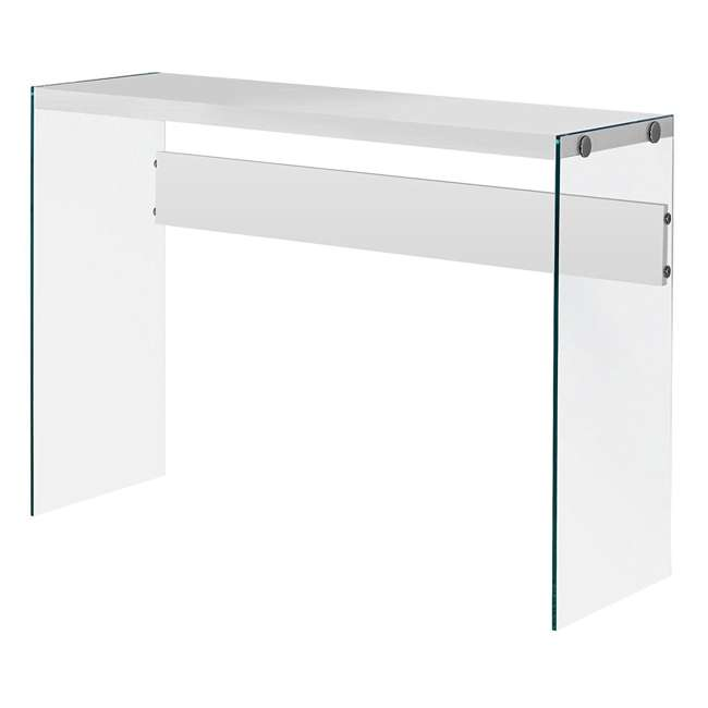 VM-3288-U-A Monarch Specialties Console Table w/ Tempered Glass, White (Open Box) (2 Pack)