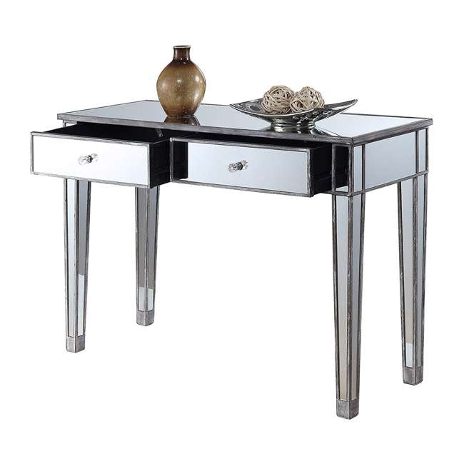 U12-178 Convenience Concepts U12-178 Gold Coast Mirrored Desk Vanity, Weathered Gray