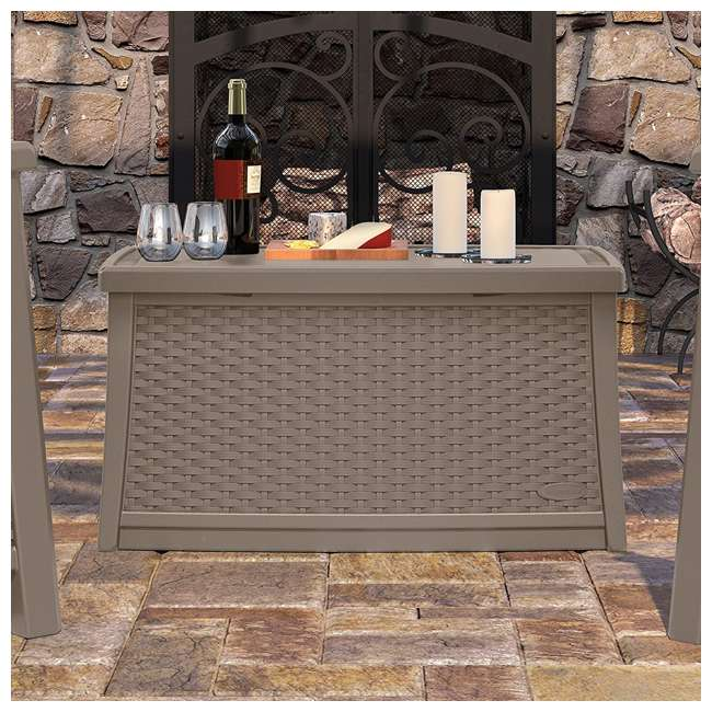 BMDB3010DT Suncast Elements 30-Gallon Resin Wicker Patio Coffee Table, Dark Taupe 3
