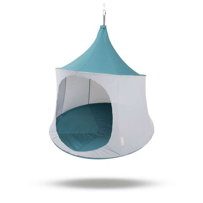 TP1500SB + TP9150 TreePod Cabana 5-Foot Hanging Mesh Daybed with Canopy, Slate Blue w/Bug Net