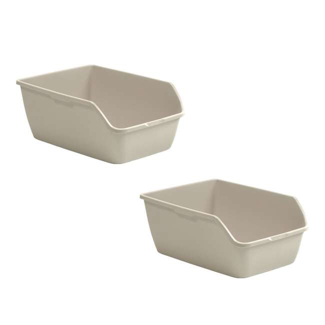LP3000 Suncast LP3000 Extra Large Easy to Clean Kitty Litter Box, Beige (2 Pack)
