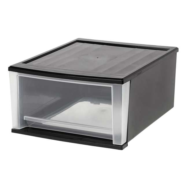 129958 IRIS USA Large 32 Quart Stackable Pull Out Clear Front Plastic Drawer, Black