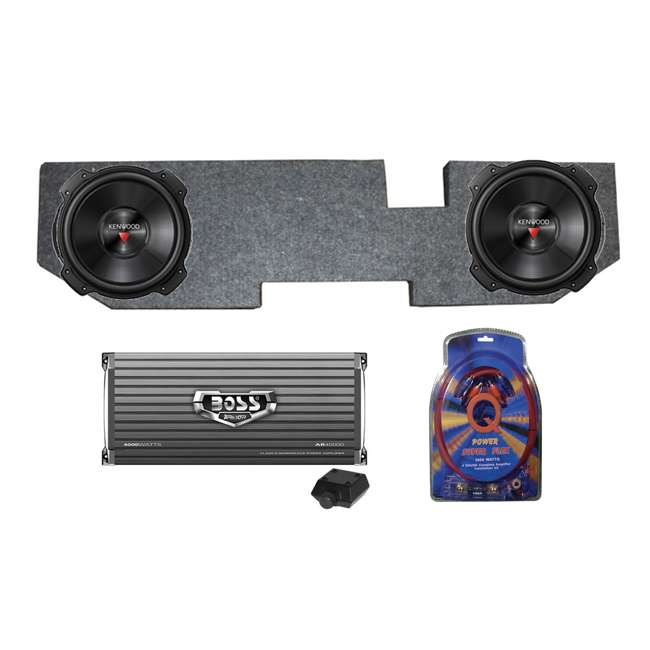 DODGEKENWOODPACKAGE Kenwood 12-Inch 2000W Subs with Dodge Ram Quad Cab '02- Box with Amplifier with Wiring (Pair)