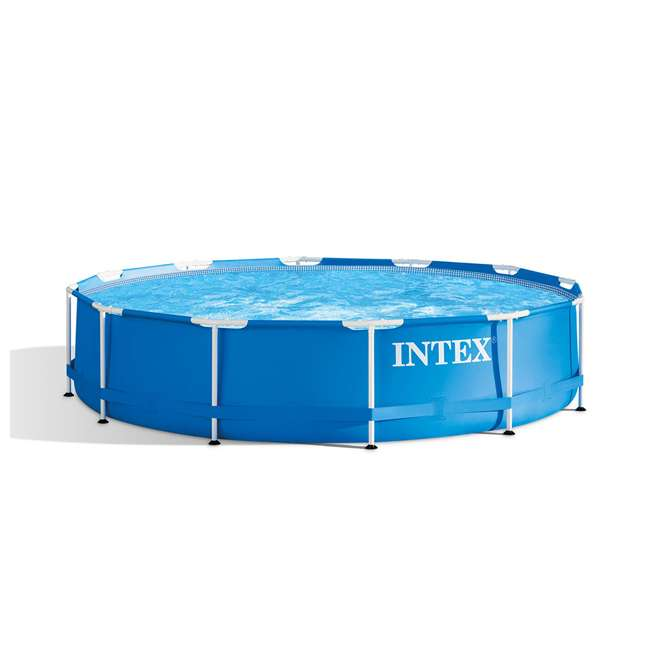 28210EH + 28637EG Intex 12 Foot x 30 Inch Above Ground Swimming Pool w/ Cartridge Filter Pump 1