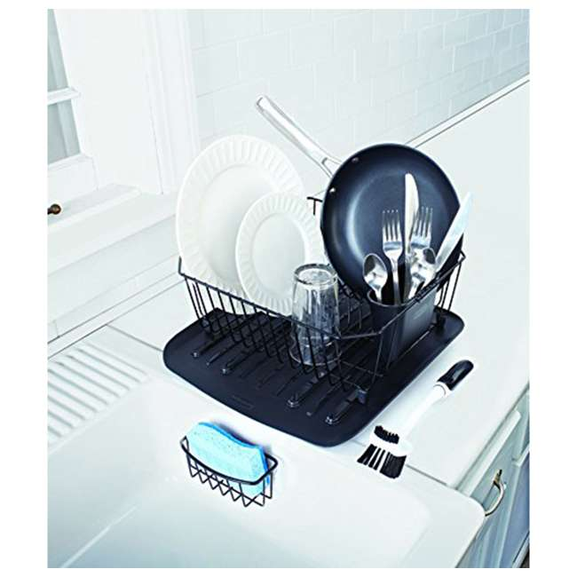 FG1F91MABLA Rubbermaid 4 Piece Antimicrobial Counter Top Sinkware Wire Drainer Set, Black 2