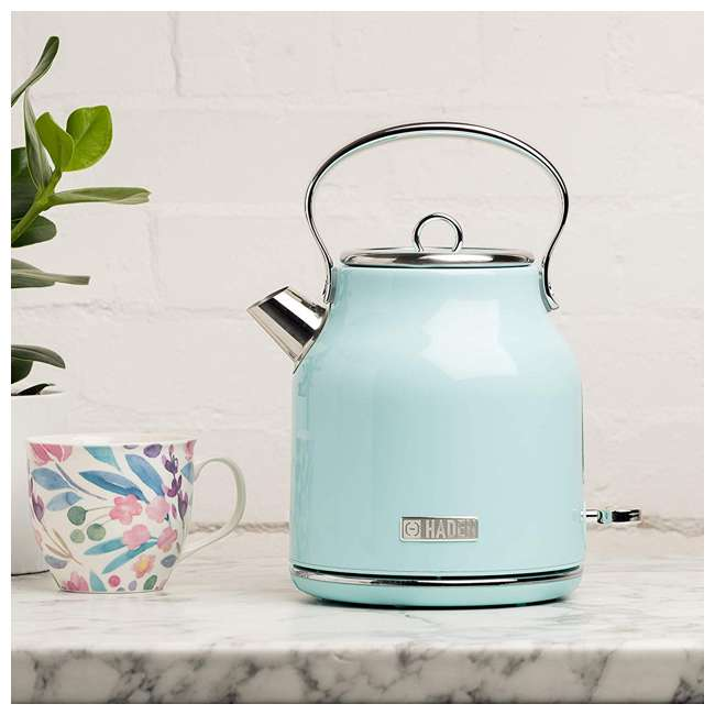 75004-HD Haden Heritage 1.7 Liter Stainless Steel Body Retro Electric Kettle, Turquoise 1
