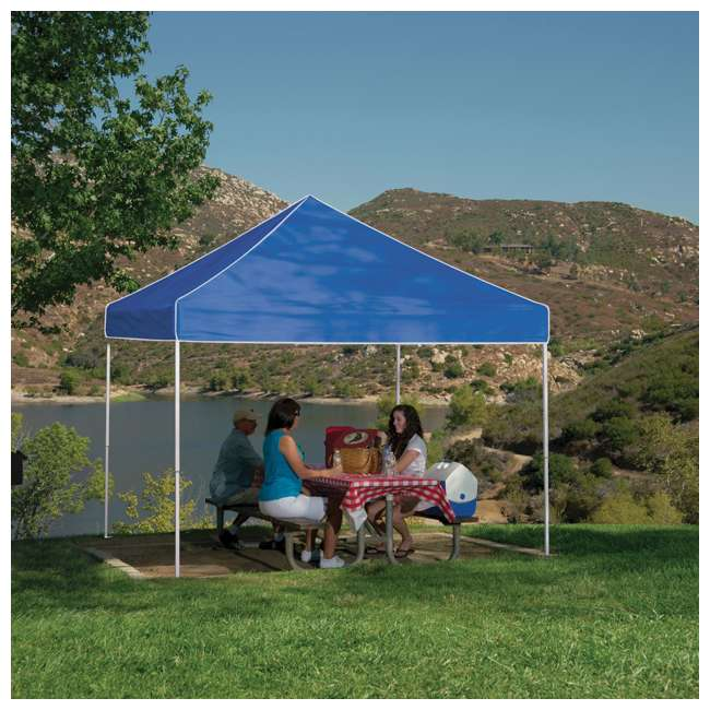 ZSB10EVRBL + ZSHDSK4 + ZSHDWB4 Z-Shade 10 x 10 Foot Instant Pop Up Canopy Tent w/ Steel Stakes & Weight Bags 5