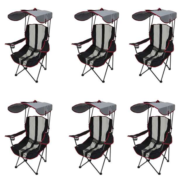 6 x 80187 Kelsyus Premium Folding Outdoor Canopy Chair, Red (6 Pack)