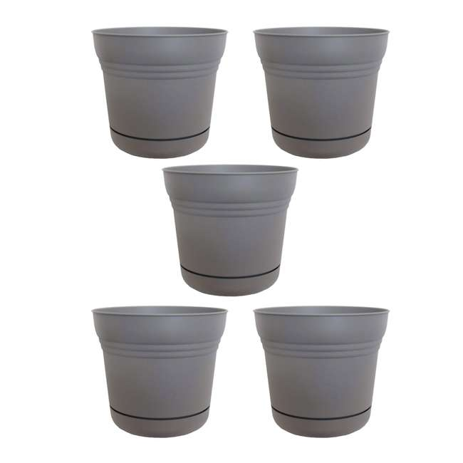 5 x SP1460 Bloem Saturn Planter w/ Saucer 14 Inch, Peppercorn (5 Pack)