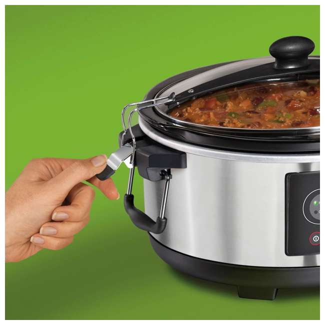 33957 + SLOWCOOK150 Hamilton Beach 5 Quart Programmable Stay or Go Slow Cooker & 150 Recipe Cookbook 4