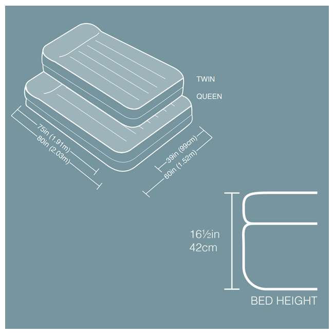 4 x 67701E INTEX Queen Pillow Rest Airbed Mattress Bed w/ Built-In Pump (Open Box) (4 Pack) 6