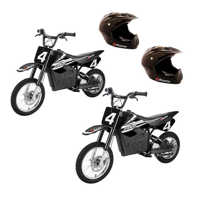 15165001 + 2 x 97775 Razor MX650 Electric Dirt Rocket Bikes (2 Pack) + Helmets