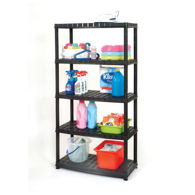 16005B-S Ram Quality Products Optimo 16 inch 5 Tier Plastic Storage Shelves, Black