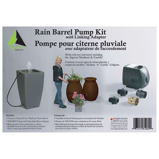 ALG-81062 + ALG-86002 Algreen 500GPH Watering System Pump + 50 Gallon Rain Water Collection Barrel 2