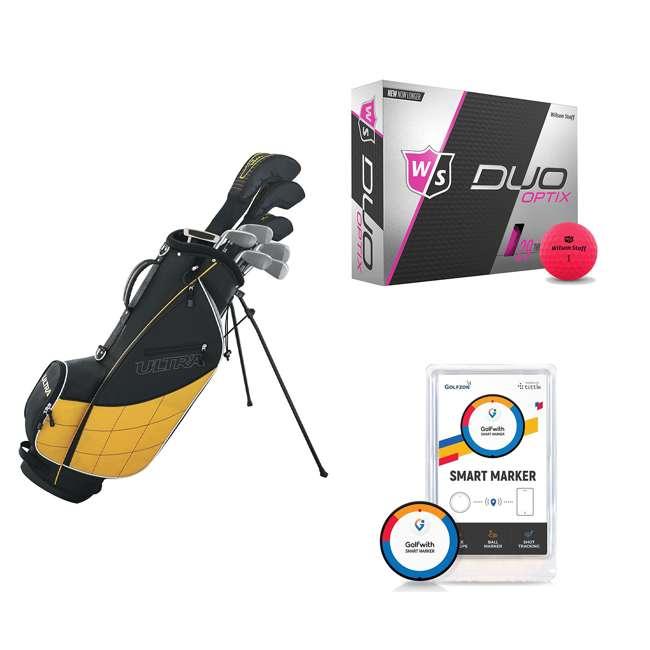 WGGC43000 + WGWP43500 + PGSMGps Wilson Men's Right-Hand Golf Club Set + Golf Balls + Golf Shot Distance Tracker