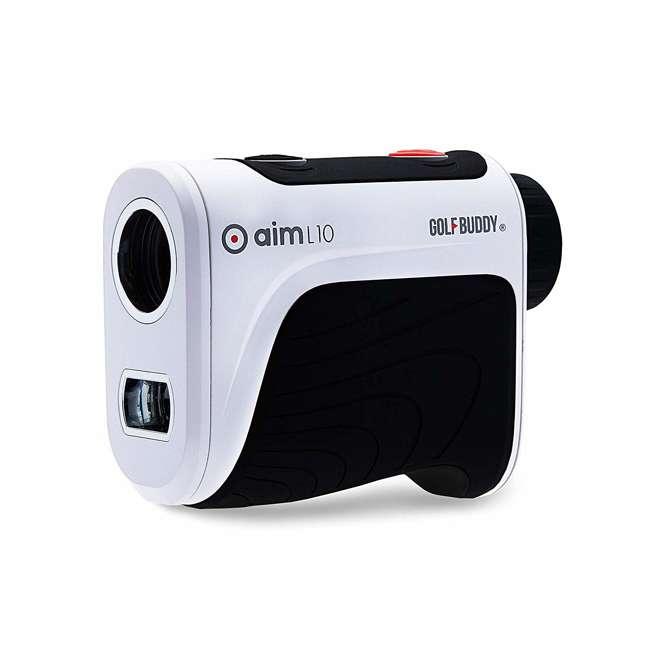AIM-L10 + GB-BATTPACK-SILVER-2 GolfBuddy Aim L10 Golf Distance Laser Rangefinder + USB Charging Power Pack 2