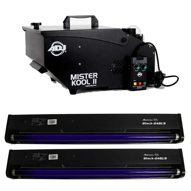 MISTER-KOOL-II-BLACK + 2 x BLACK-24BLB American DJ Mister Kool II Smoke Fog Machine & 24 Inch 20W Black Light (2 Pack)