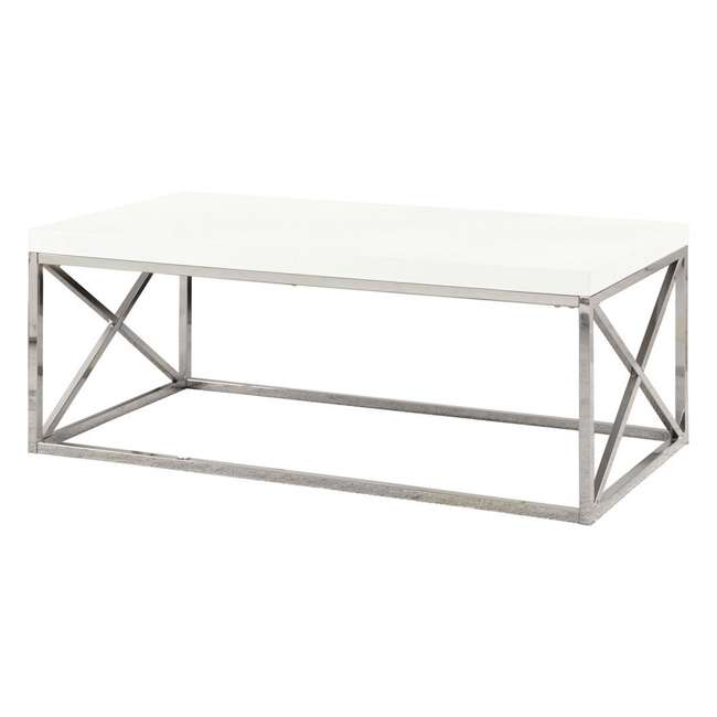 VM-3028-U-A Monarch Glossy White Metal Contemporary Design Coffee Table (Open Box) (2 Pack) 2