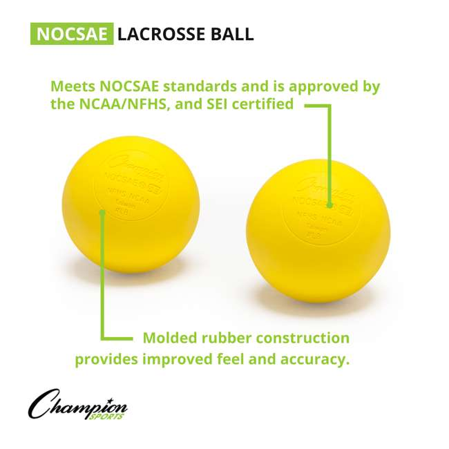 LBYN36 Champion Sports Official Rubber Bulk Lacrosse Lax Balls 36 Count Bucket, Yellow 3