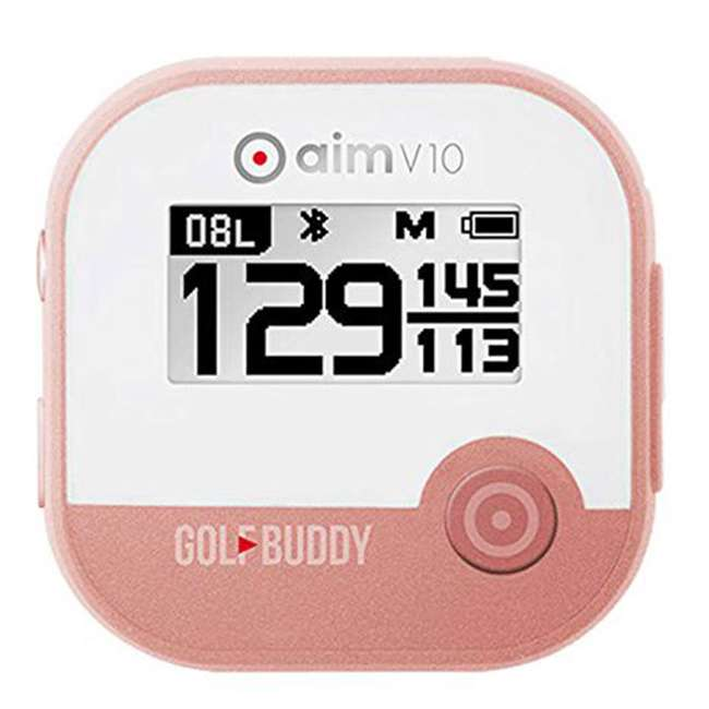 AIM-V10-RG + GB7-WRSTB-BLK GolfBuddy Aim V10 LCD Display Talking Visual Golf Green GPS + Silicon Wristband 1