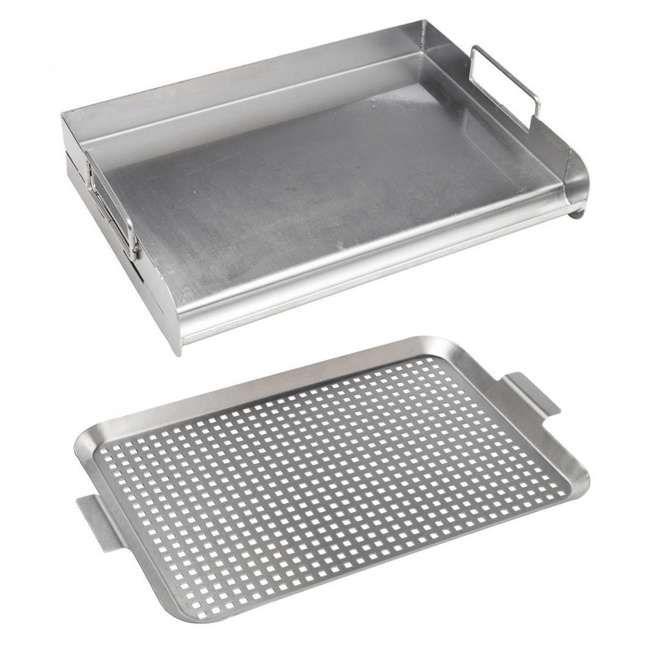 BOPA-24105 + BOPA-24117 Bull Grill Griddle & Stainless Steel Charbroil Grill Grid Tray