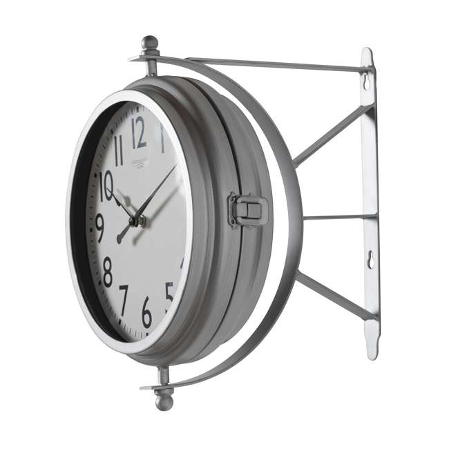 73013 Studio Designs Metro Station 18 Inch Dual Face Clock and Thermometer, Silver 3